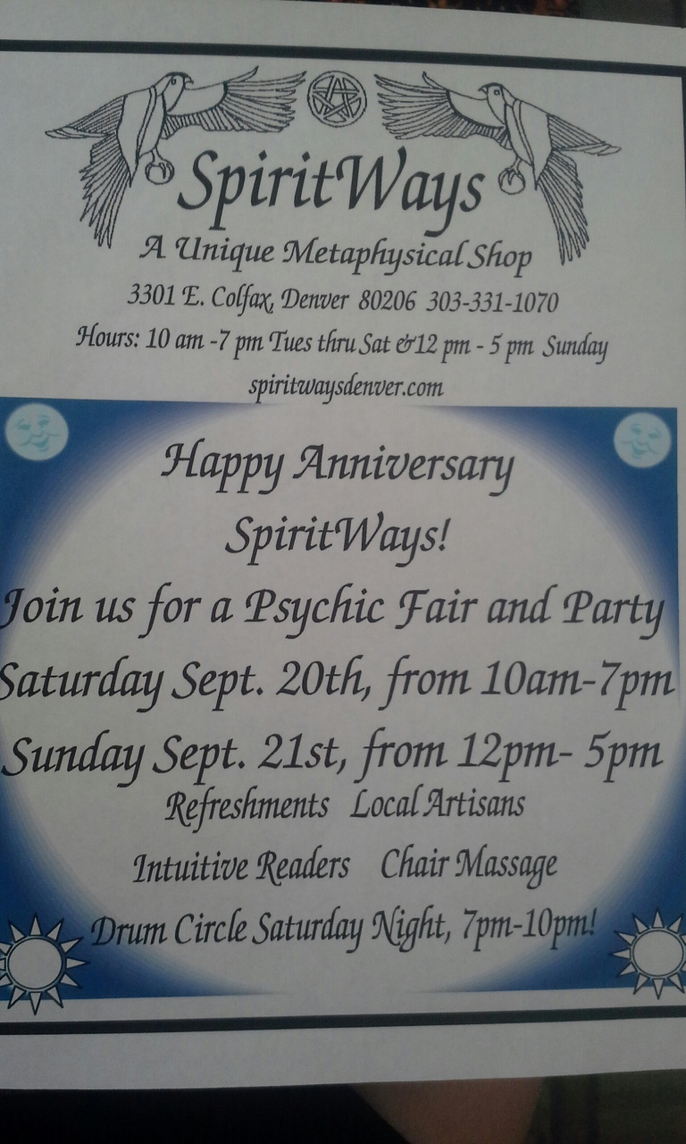 SpiritWays will celebrate their anniversary the weekend of Sept 20 and 21 with massages, intuitive readers, a local jeweler and more.