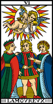 The Lovers from the Camoin-Jodorowsky Tarot, a restored version of the Marseille Tarot.