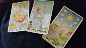 The Wheel of Fortune, The Queen of Swords, and The Star from the Waite-Smith Tarot are good personal reminders of self-love and personal success.