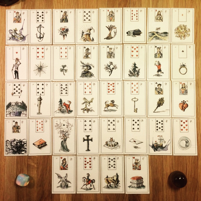 Maybe Lenormand by Ryan Edward, Prototype 1. Forthcoming by US Games. (Photo: Camelia Elias)